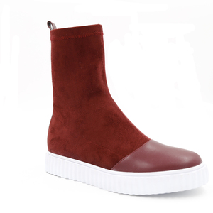 Best sell red suede flat thick bottom Martin ankle half boots woman shoes