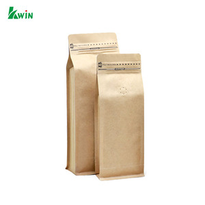Custom Made Retail Logo Printed Heat Sealed Brown Kraft Paper Coffee Bags With Valve