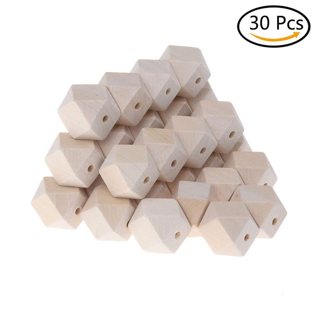 30Pcs Wood Beads Unfinished Natural Color Geometric Wood Beads DIY Beads for Art & Craft Project and Jewelry Making, 20mm with 3mm Hole