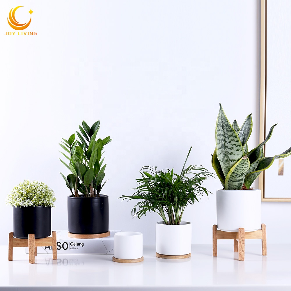 Hot sale high quality cylinder shape ceramic succulent flower plant pots with wood stand