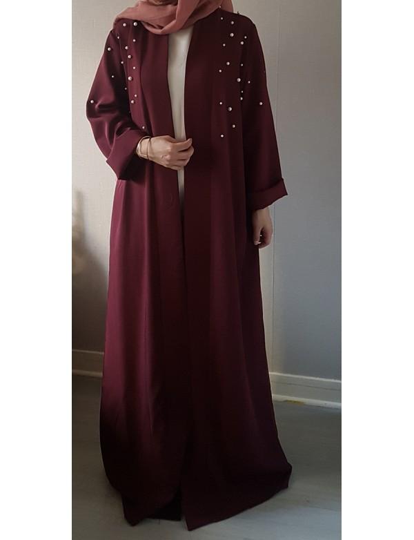 latest fashion dubai muslim abaya kimono with white pearls