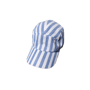 Cheap Terry stripe canvas 5 panels cap hat in blue and white