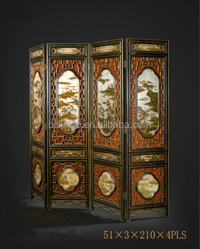 Traditional Chinese Furniture Hand Painting Four Panel Folding Screen,  Retro Art Painting Decorative Wooden Floor