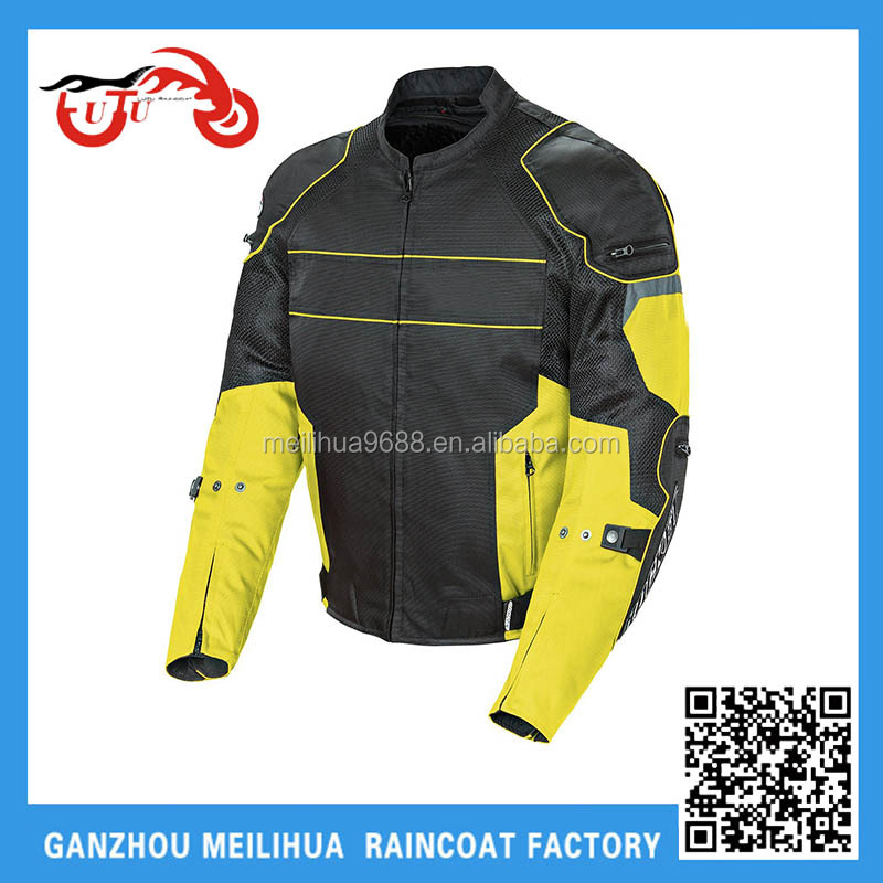 Cheap Black Yellow Men's Sports Racing Mesh Motorcycle Jacket with Armor