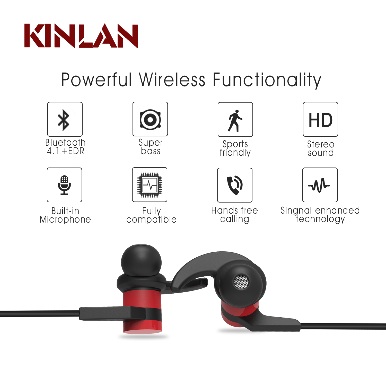 wireless Metal earphones sports hands free wireless headphone bluetooth handset