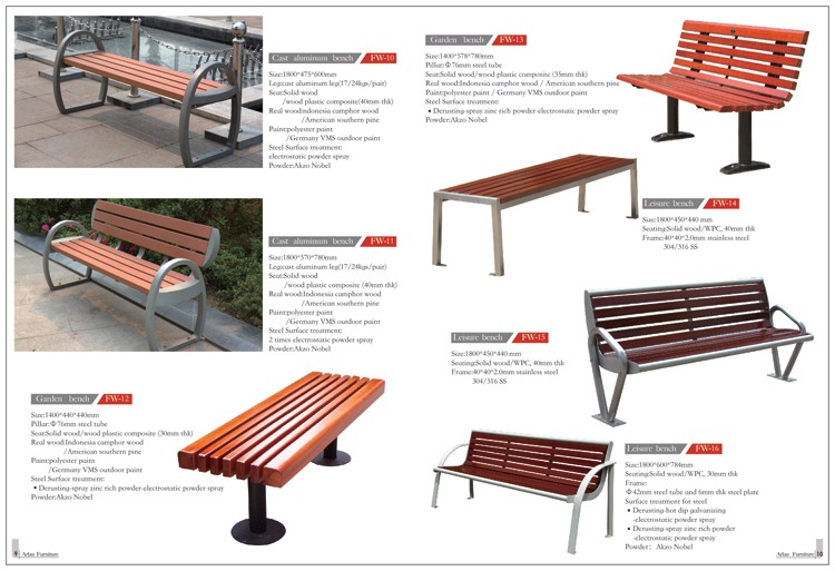 Arlau Waterproof Soild Wood Metal Park Bench Curved Patio Bench Cast