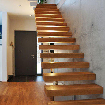 Used Non Stringer Wooden Floating Staircase Design