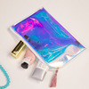 New Korean fashion Laser PU corner hand bag , fresh art transparent jelly bag , pu rainbow color cosmetic bag