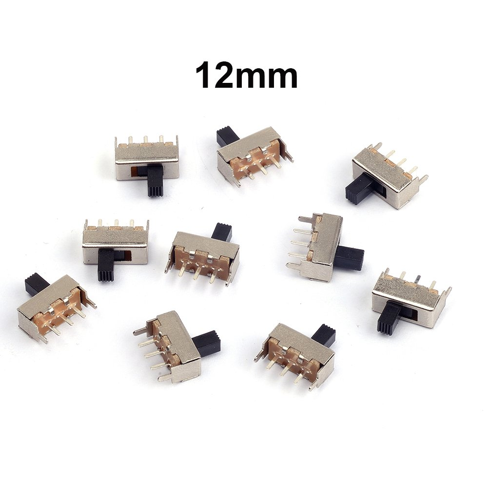 Cylewet 10Pcs 12mm Vertical Slide Switch SPDT 1P2T with 3 Pins PCB Panel for Arduino (Pack of 10) CYT1016