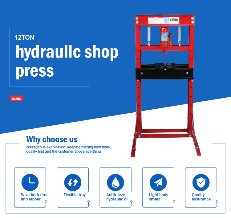 Factory offering red color bottle jack type 12t hydraulic shop press
