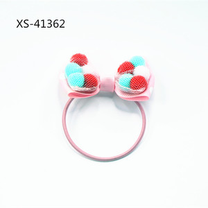 Wholesale pom pom ball girls baby lovely hair ties ponytail holders