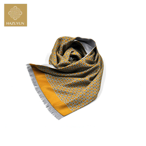 Winter Silk Brushed Double Layer Satin Men Long Screen Print Scarf