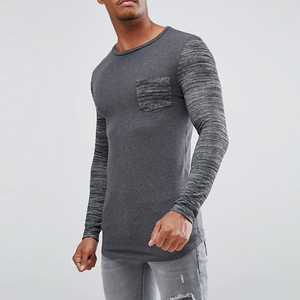 curved hem and inject sleeve mens long sleeve tshirt