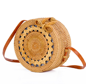 china supplier handmade rattan round bag, high quality leather strap rattan bag indonesia