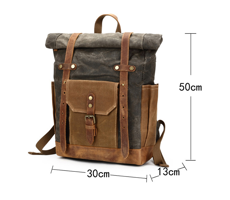 Vintage retro teenager daily brand high quality waxed canvas leather rucksack backpack bag water proof