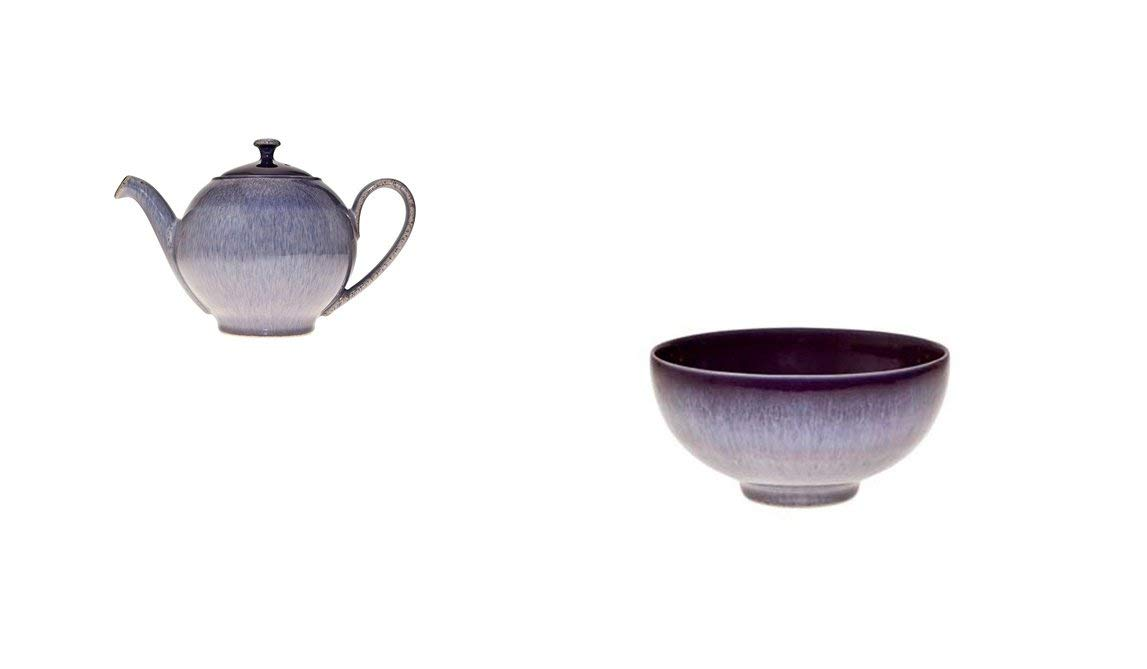 Denby Heather Teapot and Rice Bowl Set of 2