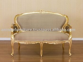 High Quality Gilt Furniture   Gold Gilt Sofa 2 Seater With Silk