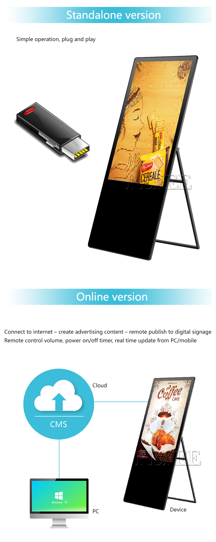 43 inch movable/portable/foldable Android digital signage advertising kiosk