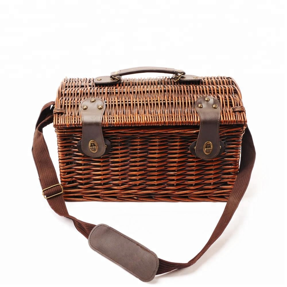 Direct Factory Cheap Wicker Picnic Basket Set 4 Person Brown Willow Lid Basket