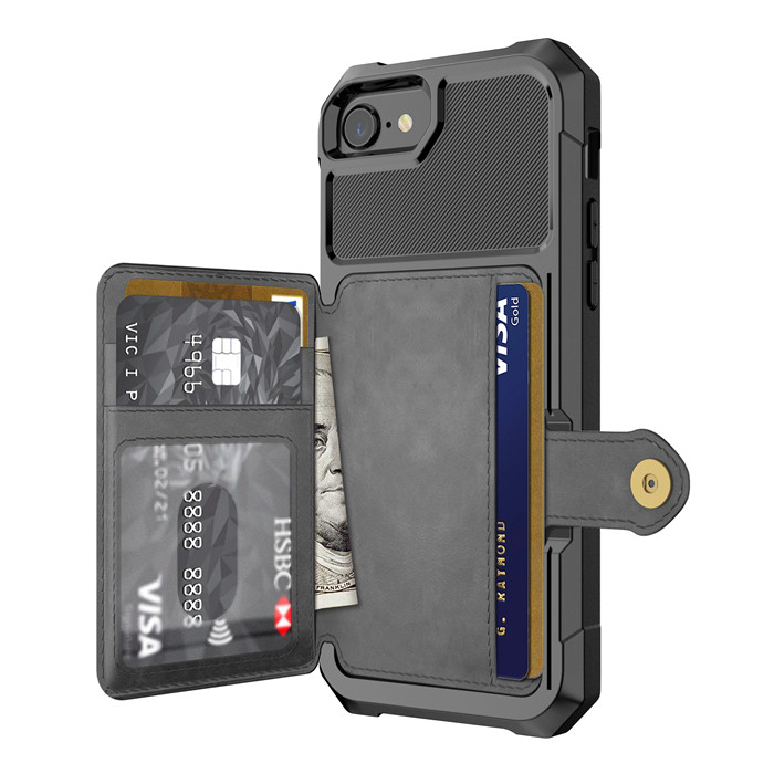 For iPhone 8 case Magnetic card folded wallet cellphone <strong>covers</strong>, mobile phone shell for iphone 8