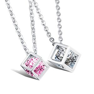 Lovers' White/Pink Cubic Zirconia Pendant Necklaces Classical Stainless Steel Link Chain Women Men Jewelry GX950
