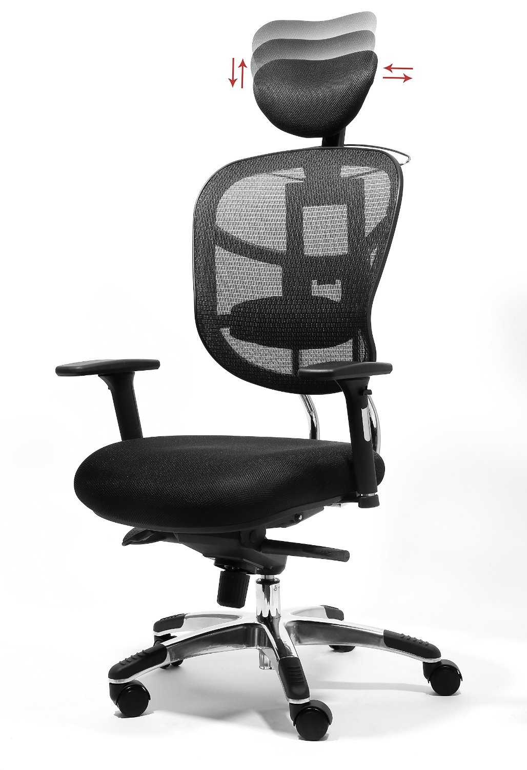 OFFICE FACTOR Ergonomic Chair, Managers High Back Mesh Chair, Adjustable Height, Headrest, Arms, Seat Slider, Smooth Rolling Casters for Office Floor or Carpet