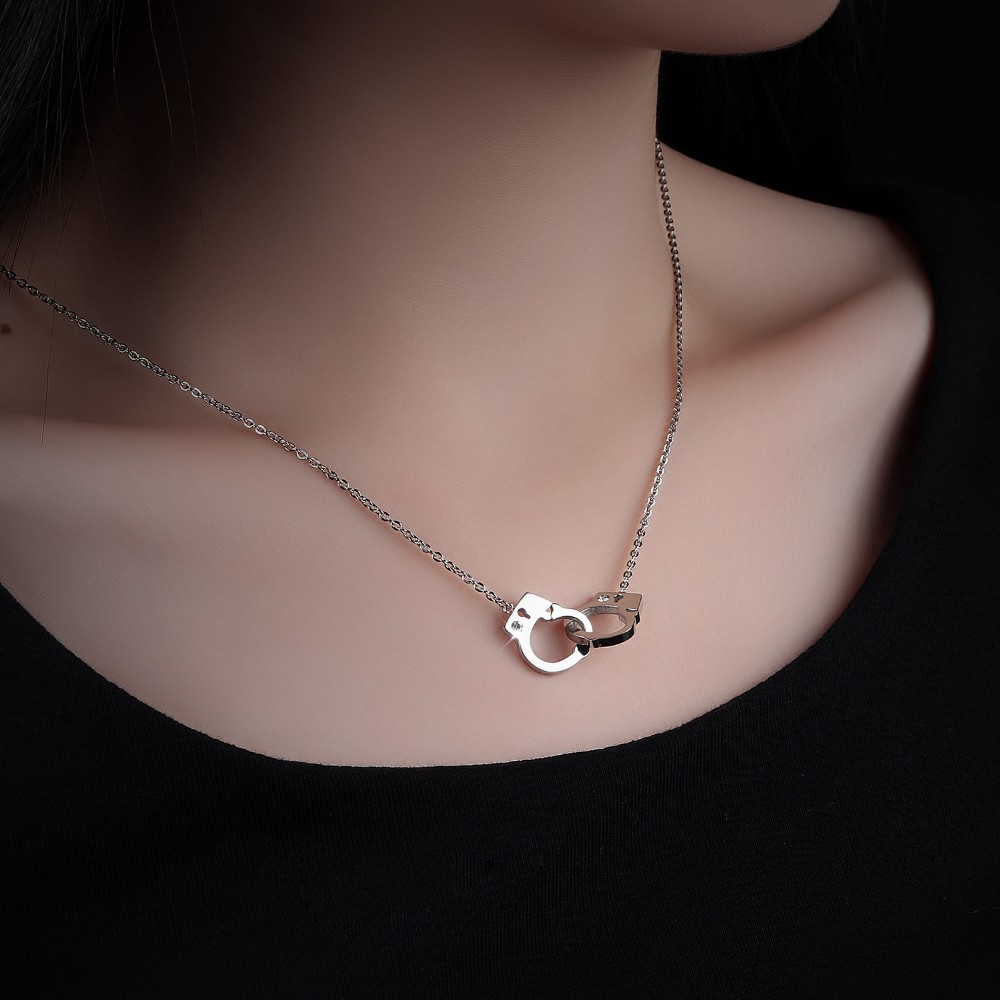Men women handcuff pendant necklace fashion jewelry rose goldsilver men women handcuff pendant necklace fashion jewelry rose goldsilver plated titanium steel handcuff necklace aloadofball Image collections