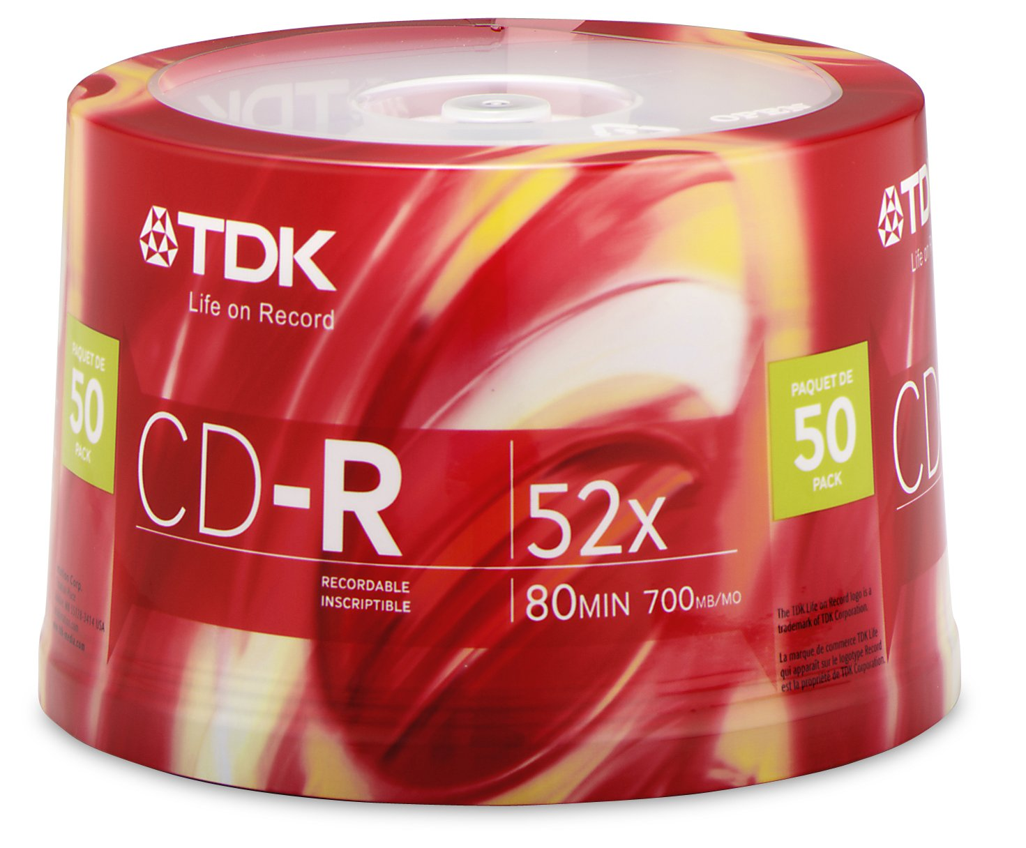 TDK CD-R80CB50 CD-R Data, 80 Minute, 700 MB, 52x 50-Pack Spindle (Discontinued by Manufacturer)