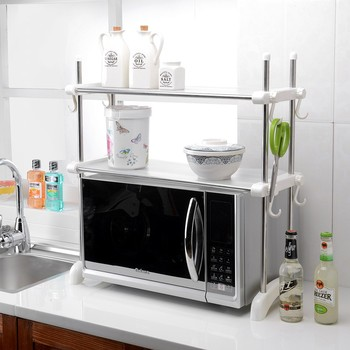 Kitchen Double Layer Stainless Steel Microwave Oven Storage Shelf