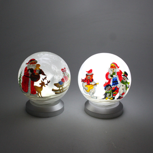 Top quality christmas ball ornaments santa painting led glass christmas ball in bulk