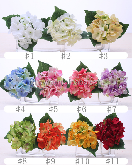 Mini single stem hydrangea real touch silk artificial decorative flowers with 3 leaves