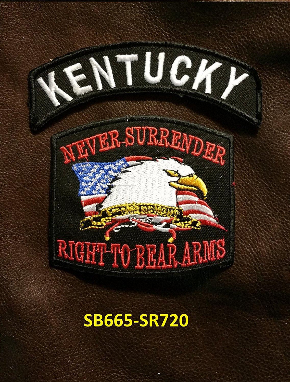 KENTUCKY and NEVER SURRENDER Small Badges Set for Biker Vest