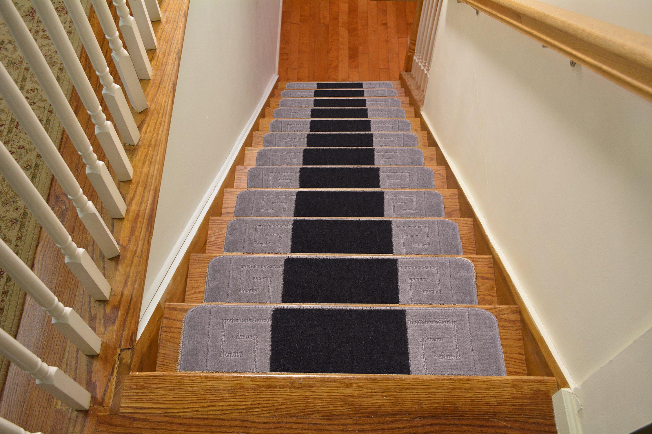 Millenium Stair Tread Treads Meander Greek Key Design Indoor Skid Slip Resistant Carpet Stair Tread Treads Machine Washable 8 ½ inch x 30 inch (Set of 13, Meander Black-Grey)