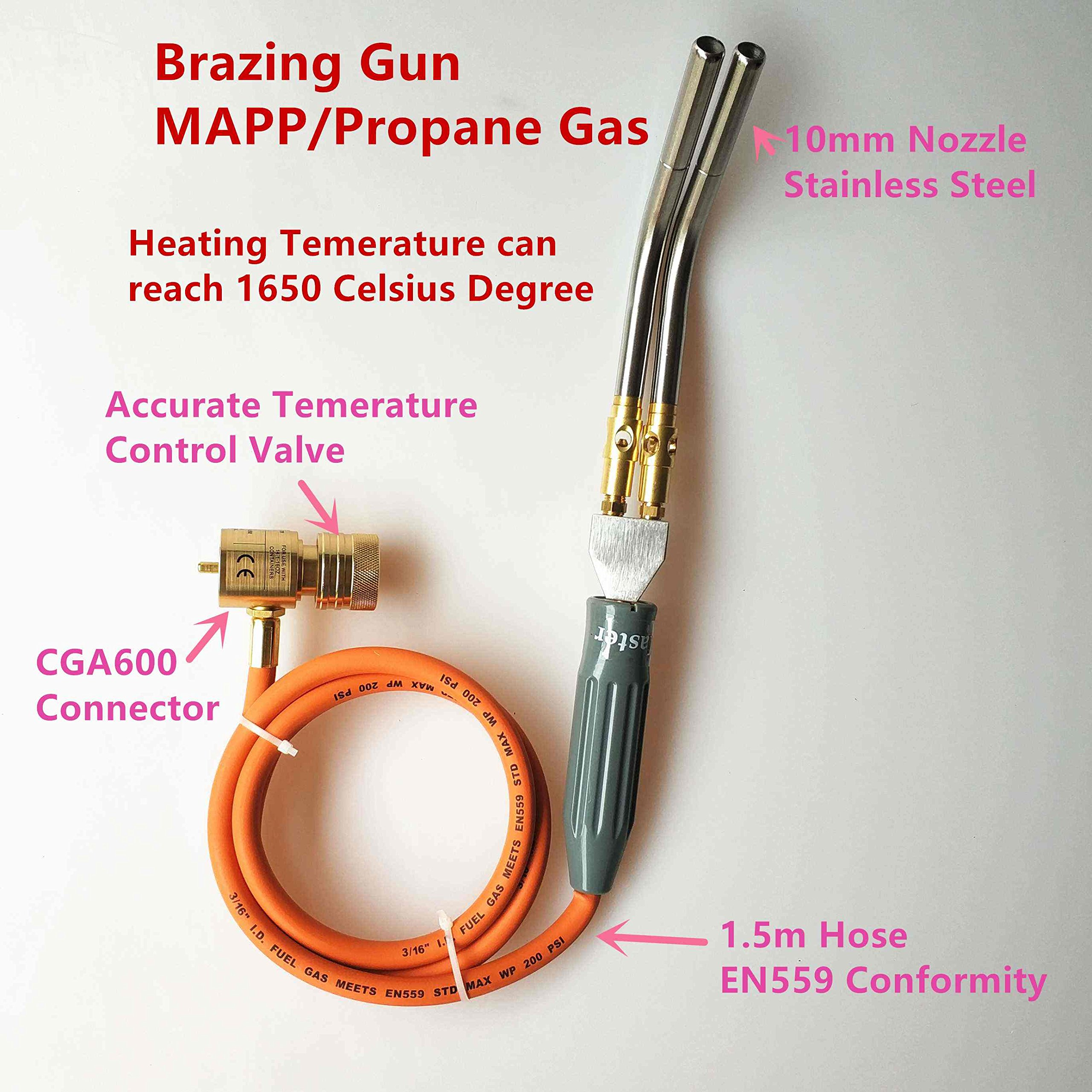 Propane torch-Professional MAPP Catridge Cylinder Gas Brazing Soldering Welding Heating Application 1.5m hose CGA600 connection
