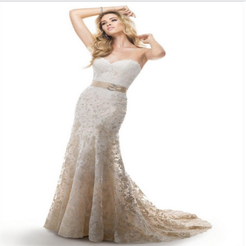 2016 Fashionable White Mermaid Wedding Dresses Sexy Sweetheart Lace with Sashes Open Back Bridal Gown Romantic Dress for Wedding