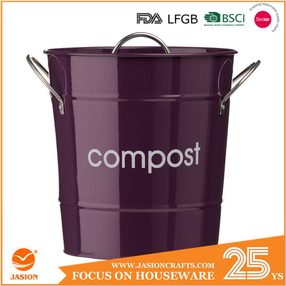 cr me m tal cuisine compost caddy bac de compostage pour. Black Bedroom Furniture Sets. Home Design Ideas