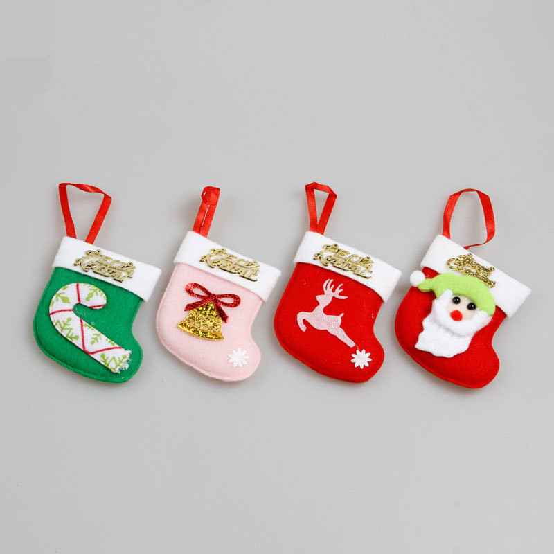 2016 new fashion beautiful mini Christmas sock hanging ornament