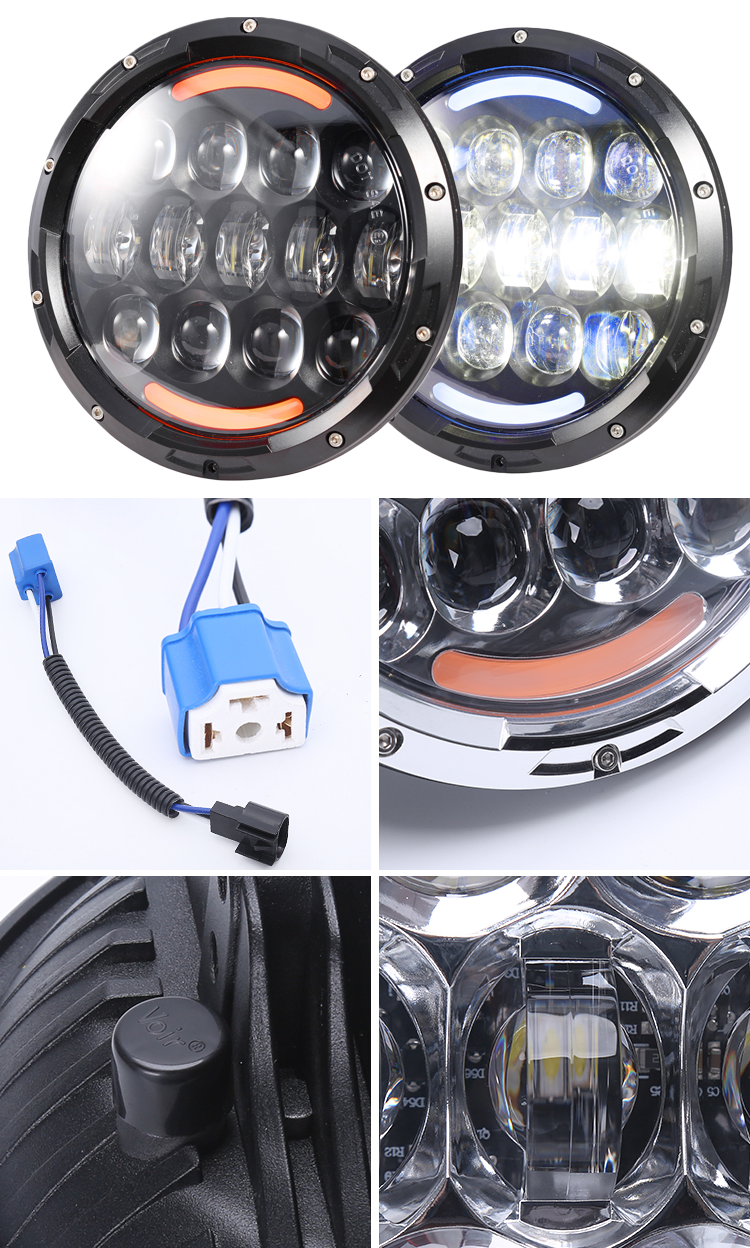 "Built-tough 105W 7"" Round LED Headlight 7 inch headlamp with amber turning lights for Jeep Wrangler JK"