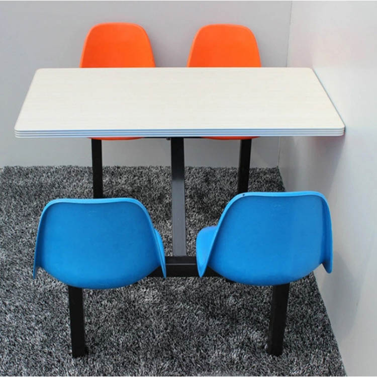 Fireproof Customized size school canteen fast food restaurant table chairs set
