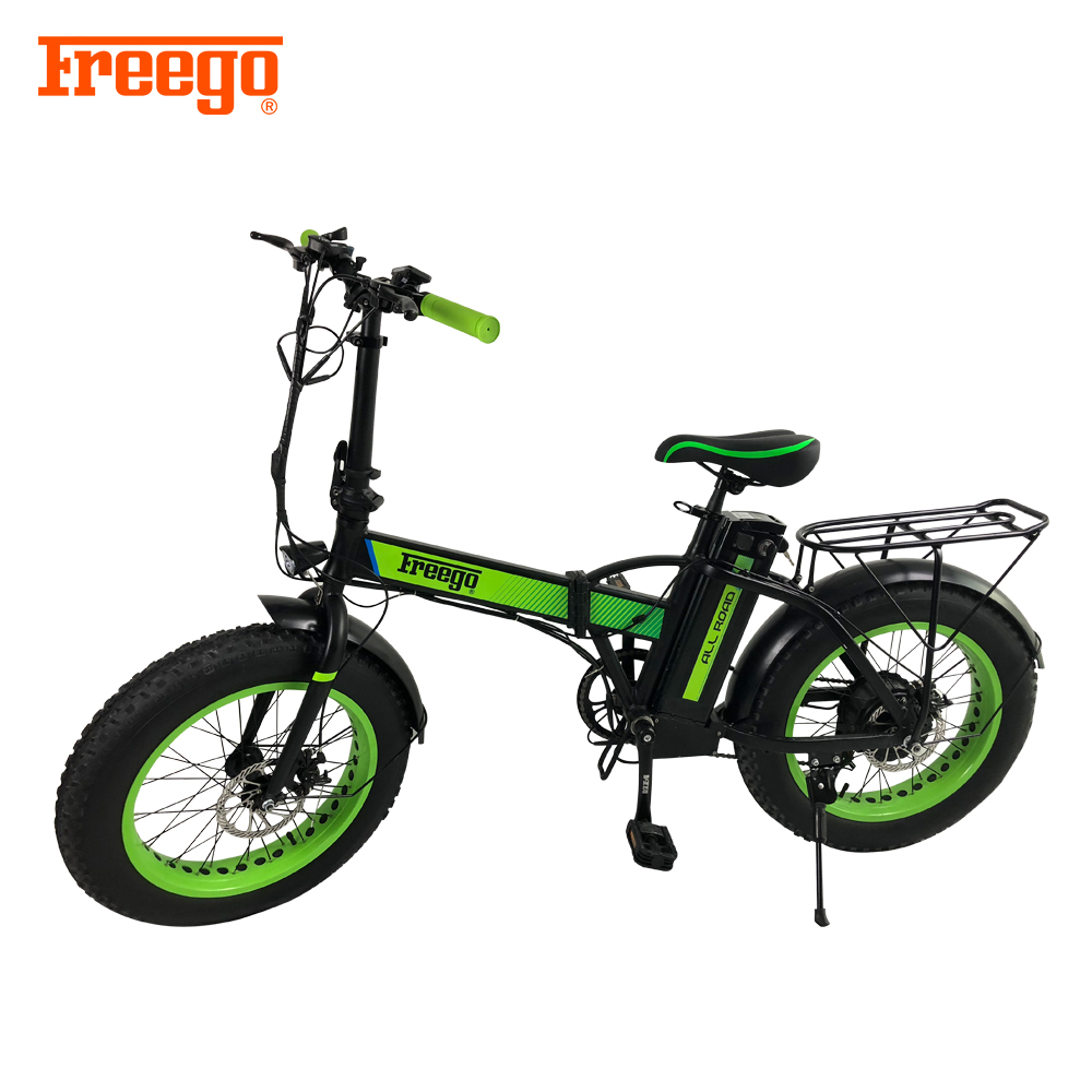 Freego 600W 36V 10.4Ah lithuim-ion battery brushless motor fat tire off road Foldable E-bike