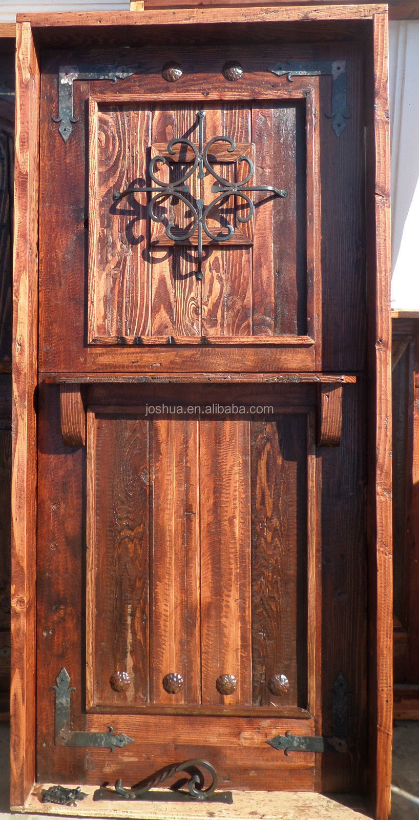 Rustic mexican solid wood dutch door reclaimed wrought for Porte hollandaise
