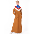 2019 Stand-up collar matching colors sport abaya uk for women casual islamic dress with side pockets online factory price