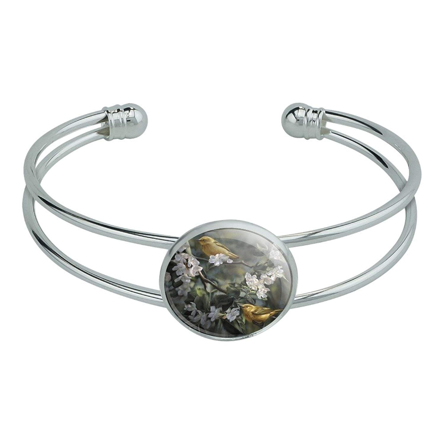 Graphics and More American Yellow Warblers Birds Novelty Silver Plated Metal Cuff Bangle Bracelet