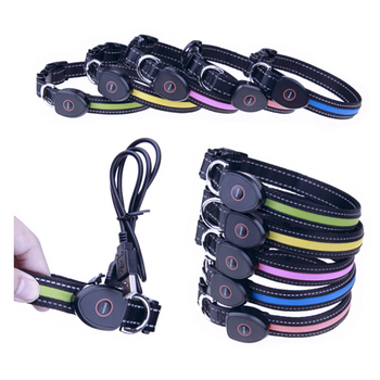 LED Pet Collar, USB Rechargeable Waterproof Dog Collar Reflective Flashing Collar Adjustable Size Light up Night
