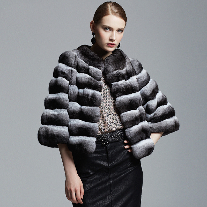 Fashion Saga Natural Grey Mink Fur Jacket Coat for Women