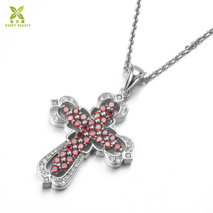 Custom ruby zircon cross religious jewelry pendant