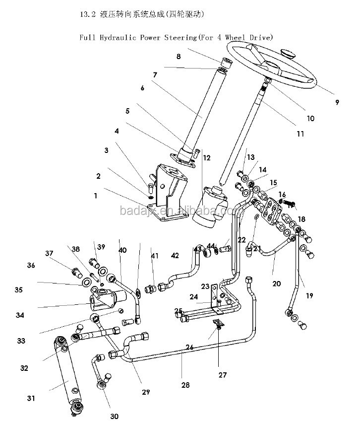 Full Hydraulic Steering Gear For 4 Wheel Drive Supply Dongfeng Df244 Tractor Parts
