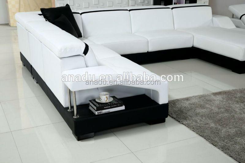 Grote witte lederen sofa woonkamer meubels zwart recliner sofa u ...