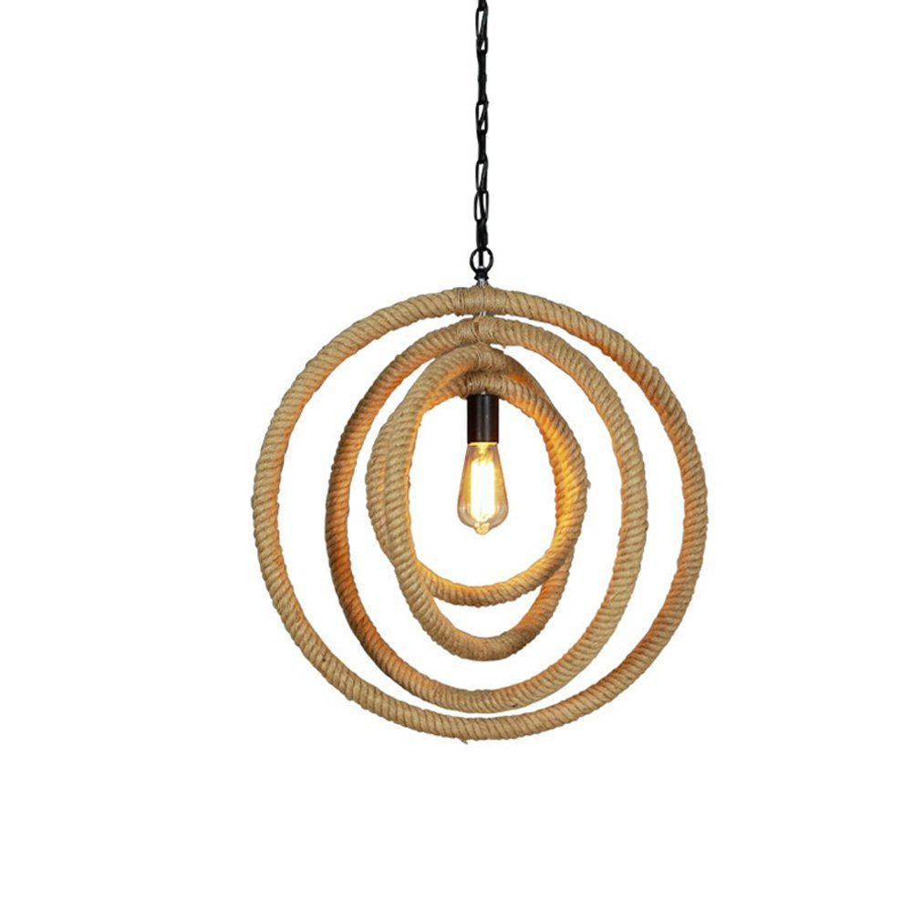 Iron Hemp Rope Pendant Lamp American Country Multi-layer Small Round Ceiling Light Restaurant Hallway Balcony Bar Single Head Chandelier