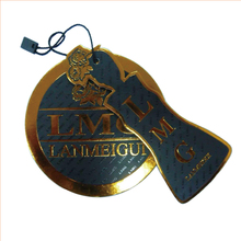 China high quality gold foil stamping jeans paper label hang tag with string